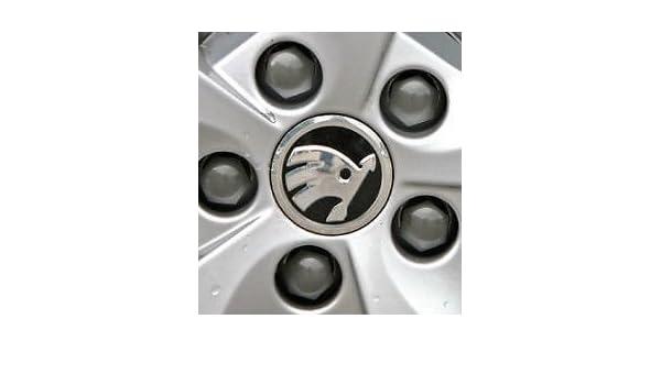 4 centros de tapacubos con el logo de Skoda, 56 mm, 5JA601151A: Amazon.es: Coche y moto