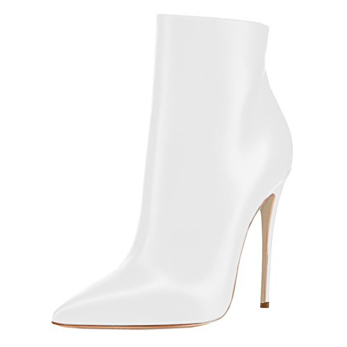 VOCOSI Women's White Ankle Boots Closed Pointed Toe Stilettos Autumn Dress Booties M-White 6 US