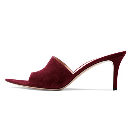 on Sexy High Mid Slide FSJ Wine Toe Suede Mules Cm Size 15 Shoes Heels Slip Fashion Women Open Sandals 4 7 US B8wAq7
