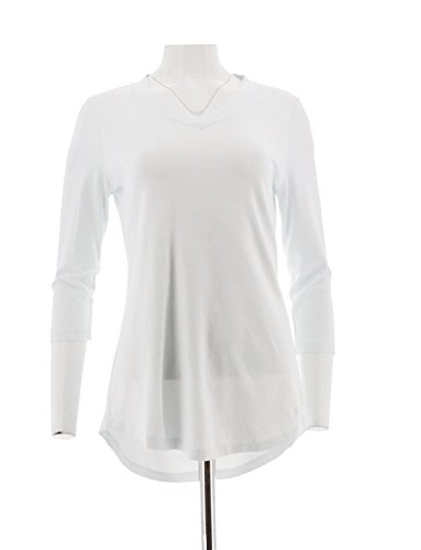 Isaac Mizrahi Pima Cotton 3/4 SLV Tunic A278784, Bright White, S (Pima Cotton Tunic)