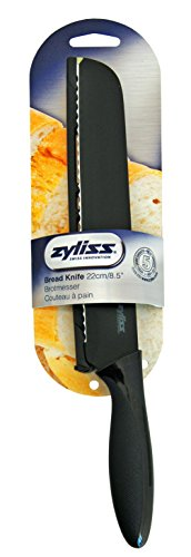 Zyliss Bread Knife with Sheath Cover, 8.5-Inch Stainless Steel Blade 4 High-carbon stainless steel blade retains super sharp edge for long lasting use Safety blade guard protects knife for travel and storage Perfect for effortless slicing of bread, baked goods, large melons and squash