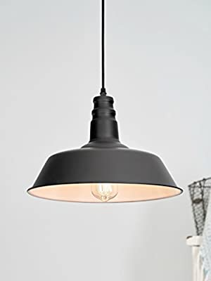 "LightLady Studio - Farmhouse Lighting - Barn Pendant Light - 14"" Hanging Light Fixture - Great Fixtures for Kitchen Island Lighting or Industrial Decor"