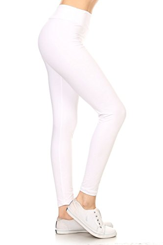 Leggings Depot YOGA Waist REG/PLUS Women's Buttery Soft Solid Leggings 16+Colors (Plus Size (Size 12-24), White)