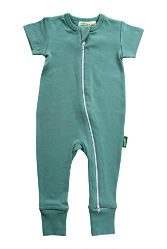 (Parade Organics Essential Basics '2-Way' Zip Romper - Short Sleeve Summer Teal 18-24 Months)