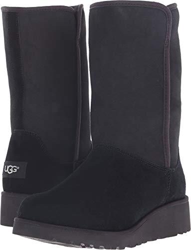 UGG Women's Amie Winter Boot, Black, 7.5 B US (Suede Womens Wedge Sheepskin)