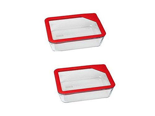 4-Piece Pyrex Ultimate 6 Cup Rectangle Glass Lid Storage Con