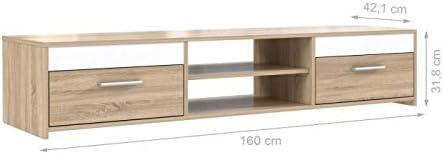 Tv Meuble Katso Décor Blanc Brillant Chene Et Finlandek 160cm Sonoma oWrxBedC