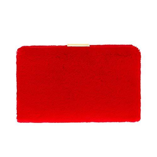 e per tracolla per matrimonio sera Clutch Fashion staccabile donna da da banchetto Europa party rosso america Borsa Plush c0HwpRq7f