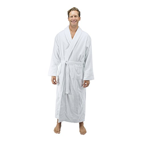 Comfy Robes Personalized Men's 16 oz. Turkish Terry Cotton Bathrobe, L/XL (OSFM) Tall White by Comfy Robes