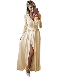 Women's V Neck A Line Lace Chiffon Prom Dress Long Sleeve Formal Evening Gown with Slit