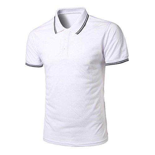OVERDOSE Polo Classique à Bandes Contrastées, Été Homme Casual Manches Courtes Top Slim Blouse Coton Sweatshirt (M, Bleu)