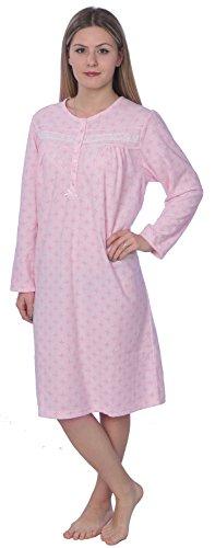 Beverly Rock Women's Warm Soft Fleece Floral Print Long Sleeve Nightgown 4028BB Pink L