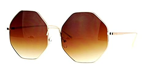 XL Oversized Octagon Metal Wire Frame Sunglasses (Gold Frame, Brown Gradient) - Wire Frame Gradient Sunglasses