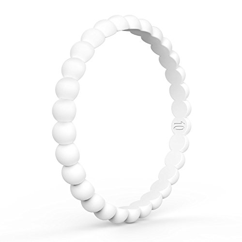 Demetory Thin and Stackable Silicone Ring for Women, Affordable Silicone Rubber Bands - 3mm Width - 2mm Thick. Perfect for Athlete, Nurse, Police White Size 5