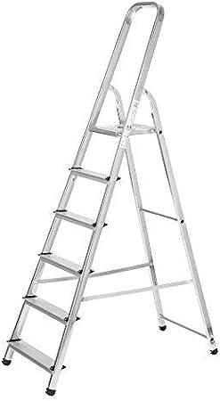 Escaleras Plegables Aluminio 6 Peldaños de Tijera Super Resistente hasta 150Kg, Acero y Aluminio Antideslizantes, Altura de Trabajo hasta 310cm - Packer PRO