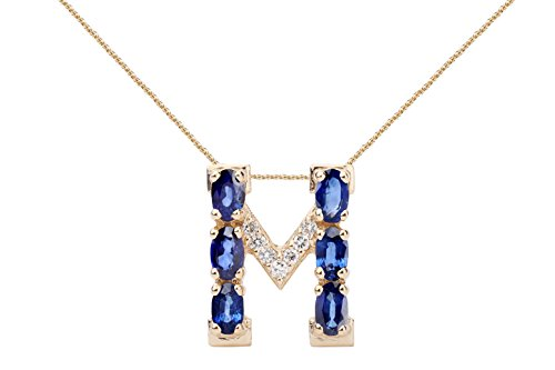 18k Sapphire Necklace - Albert Hern Blue Sapphire Necklace with Diamonds & 18K Gold Chain | Irresistible Sapphire Letter M Pendant Jewelry | Perfect Valentine's Day, Anniversary & Birthday Gift