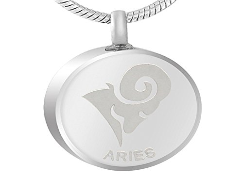 Zhane Memorial Jewelry Zodiac Birth Sign Collection Cremation Urn Ashes Pendant Stainless Steel Unisex -