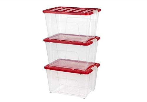 IRIS 54 qt. Holiday Storage Totes in Red (Set of 3) by IRIS USA, Inc.