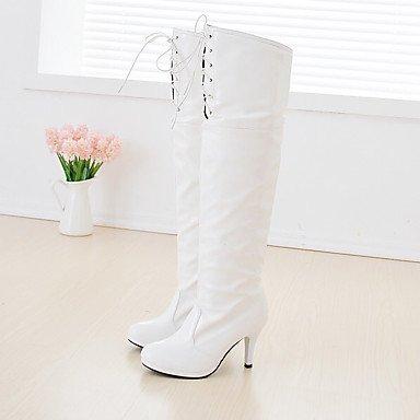 RTRY Charol Zapatos De Mujer Invierno Botas Botas De Moda Puntera Redonda Sobre La Rodilla Botas Para Parte &Amp; Noche Blanco Negro Rojo US8.5 / EU39 / UK6.5 / CN40
