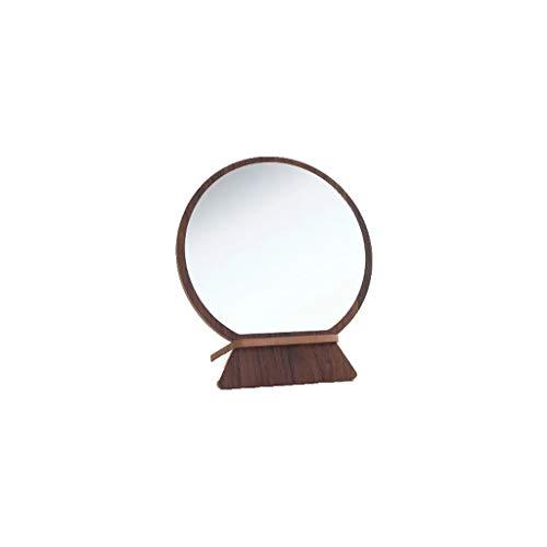 - Hzpxsb Desktop Beauty Mirror Round Simple Wood Grain Makeup Mirror Student Desktop Vanity Mirror 19.7x15.8cm