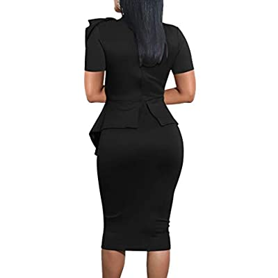 LAGSHIAN Women Fashion Peplum Bodycon Short Sleeve Bow Club Ruffle Pencil Office Party Dress at Women's Clothing store