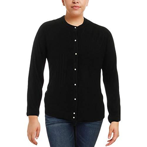Karen Scott Womens Braided Trim Button-Down Cardigan Sweater Black XXL
