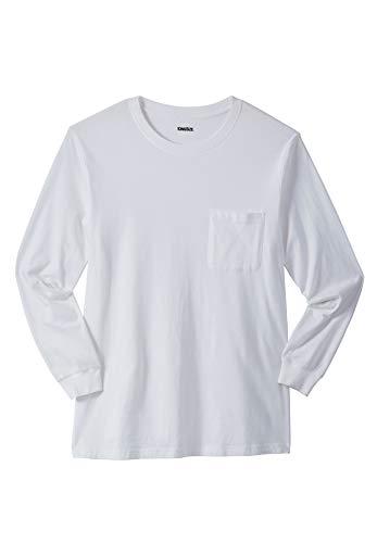 KingSize Men's Big & Tall Lightweight Long-Sleeve Tee Shirt with Pocket, White ()