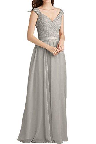 Damen Linie Spitze Mini Abendkleider Ballkleider mia Rock A Silber La Kurz Braut Partykleider Kleider qwEFS8g