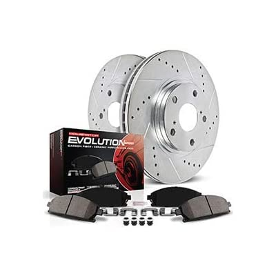 Power Stop K4056 Front & Rear Brake Kit with Drilled/Slotted Brake Rotors and Z23 Evolution Ceramic Brake Pads: Automotive