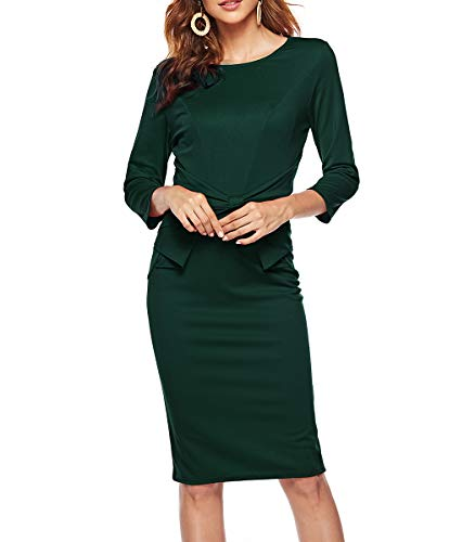 CEASIKERY Womens 3/4 Sleeves Office Casual Pencil Wear to Work Church Sheath Dress 40
