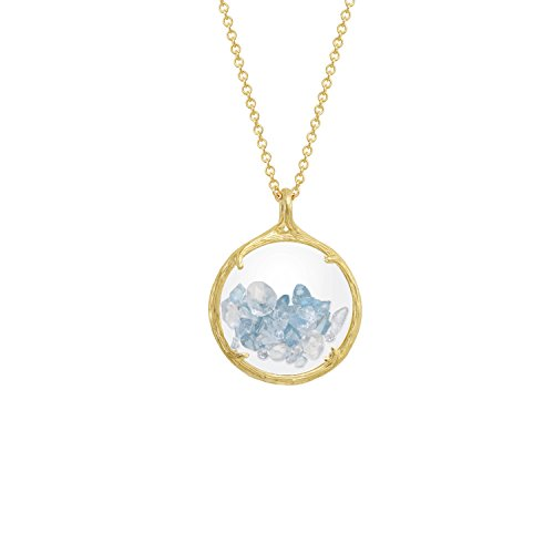 Birthstone shaker floating crystal stone Necklace (December Swiss Blue Topaz) by Catherine Weitzman