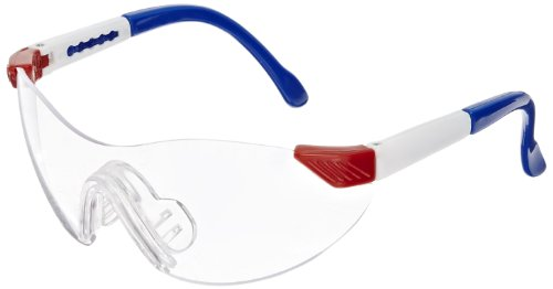 Sellstrom S70301 Dyno-Mite Series Child Size Protective Safety Glasses, Red White and Blue Frame, Clear Lens, Adjustable Temples, Soft Nose Bridge (Pack of 12) -
