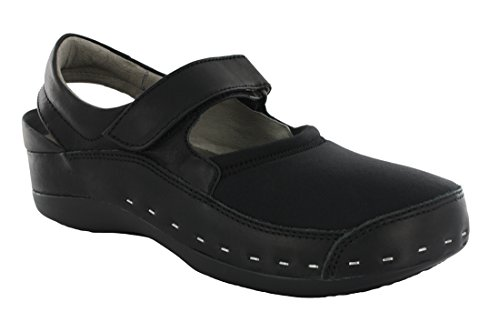 Wolky Womens 6015 Cloggy Strap Cloggy Clogs & Mules Lycra/Smoo Black POTcdSES9
