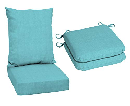 Mainstays 1-Piece Solid Turquoise, Outdoor Deep Seating Cushion Set bundle with Mainstays 2-Piece Solid Turquoise, Outdoor Dining Seat Cushion