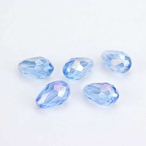 Calvas 30pcs Multi Colors Faceted Teardrop Crystal Beads Transparent Crystal Glasses Loose Beads for DIY Jewelry Materials Earrings - (Color: Light Blue, Item Diameter: 10x15mm 30pcs)