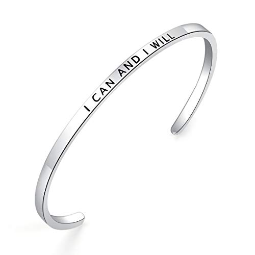 BESTTERN Inspirational Bracelet Cuff Bangle Mantra Quote Keep Going Stainless Steel Engraved Motivational Friend Encouragement Jewelry Gift for Women Teen Girls Sister (Thin-I can and I Will) ()