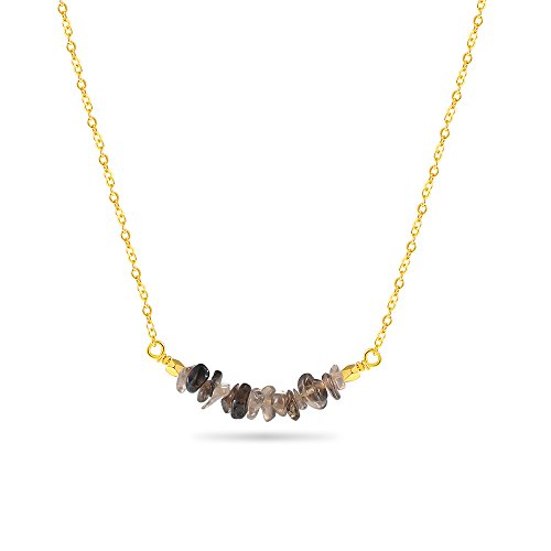 Jeka Stone Necklace for Women Girls Rose Quartz Chip and 18k Gold Dipped Chain Necklaces Gem Bar Natural Crystal Pendant Gifts for ()