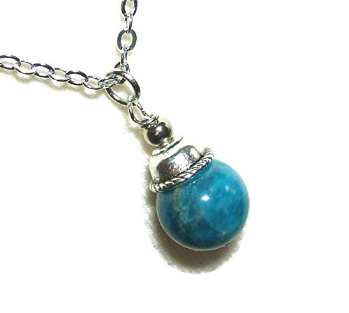 BLUE APATITE NECKLACE Classic Pendant CLARITY PSYCHIC PERCEPTION SELF EXPRESSION Metaphysical Stone