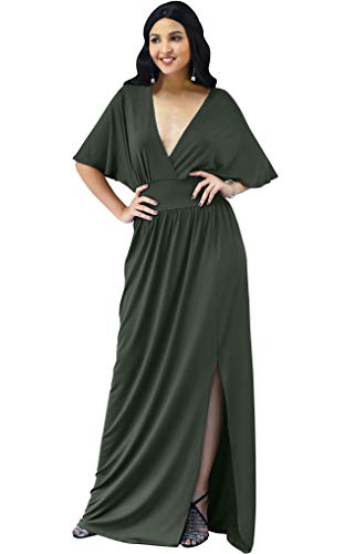 KOH KOH Womens Long Sexy Kimono Short Sleeve Slit Split V-Neck Party Cocktail Evening Bridesmaid Wedding Guest Sun Gown Gowns Maxi Dress Dresses for Women, Olive Green M 8-10