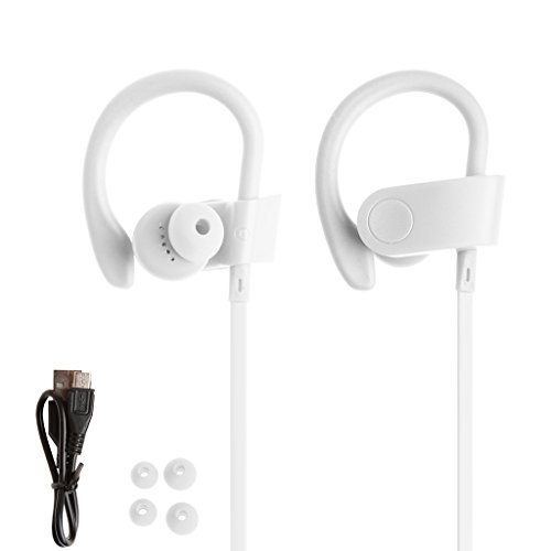 SCASTOE Bluetooth 4.1 Stereo Headphone with Mic, Handsfree Wireless In-Ear Sport Earphone -White