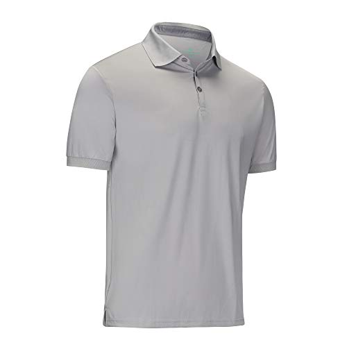 Mio Marino Golf Polo Shirts for Men - Regular-fit Quick-Dry Mens Athletic Shirts (Gray, X-Large)