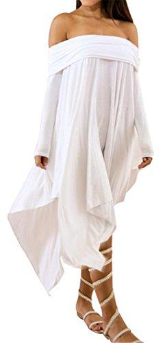 Cromoncent Femmes Manches Longues Solide De Robe De Midi Ourlet Irrgular Épaule Blanches