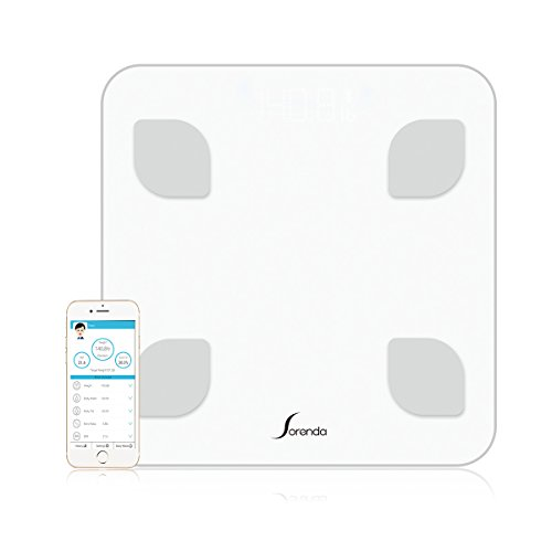 Bluetooth Body Fat Scale, Sorenda Body Composition Monitor Smart Scale with Fitness APP, Smart APP Analyzer, Tempered Glass Platform Weight Loss Track Scale-White