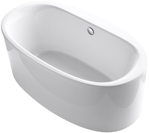 KOHLER K-6368-0 Sunstruck 66-Inch X 36-Inch Oval Freestanding Bath with Straight Shroud and Center Drain, White, 1-Pack (66 Freestanding Tub compare prices)