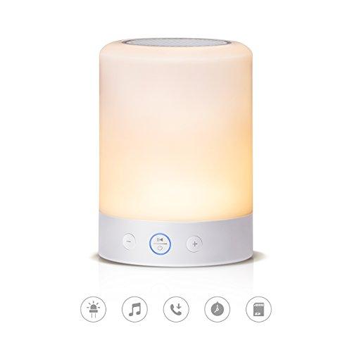Tomons Illuminant Sound Tragbarer Bluetooth Lautsprecher mit LED Beleuchtung, Nachttischlampe mit 6 Lichtoptionen, Touch-Sensor, SD-Karten-Slot, Weiß
