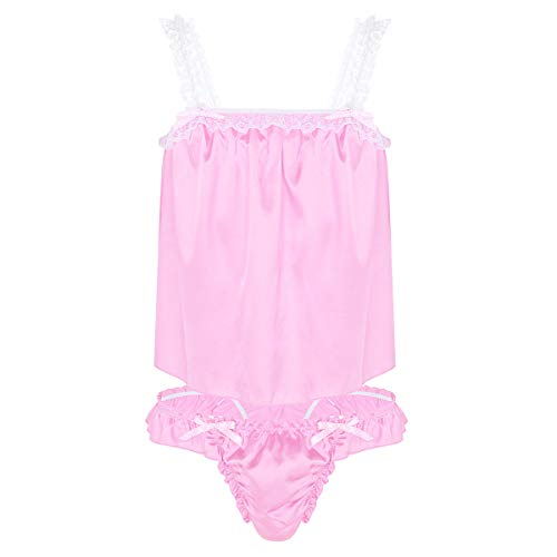 ACSUSS Men's Satin Frilly Sissy Lingerie Set Ruffled Lace Top Briefs Sexy Nightwear Pink Medium