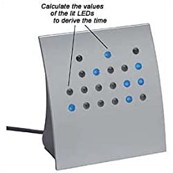 Crystal Blue Powers of 2 BCD & Direct Binary Clock (Silver w/Blue LEDs)