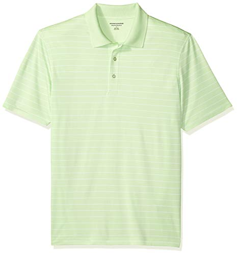 Amazon Essentials Men's Regular-Fit Quick-Dry Golf Polo Shirt, Lime Green Stripe, Large
