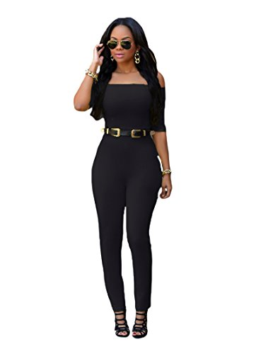Century Star Ladies Casual One Piece Suit With Belt Siamese Trousers Black L