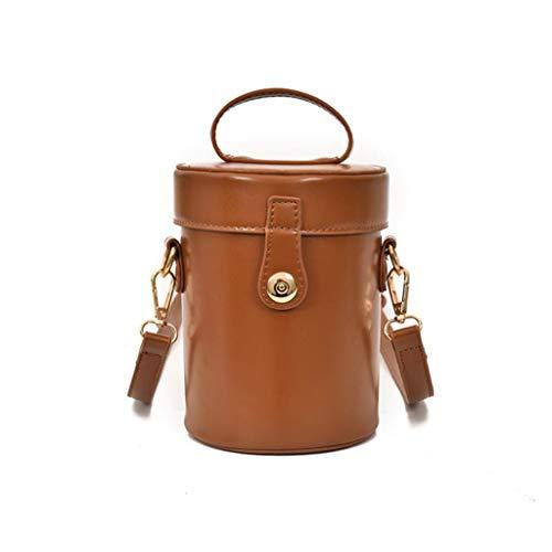 MTXLN Fashion Portable Cylinder Lock Buckle Bag Lady Shoulder Bag Wild Bag Bucket Bag Adjustable Shoulder Strap Cute Brown